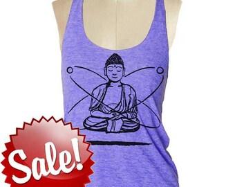 Yoga tank top Womens BUDDHA  --- Tri-Blend s m lg (8 Color Options) skip n whistle
