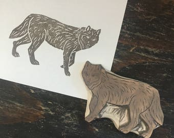 Wolf Rubber Stamp | Hand Carved Stamp