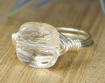 Sale! Clear Quartz Square Gemstone Ring/Sterling Silver, Yellow or Rose Gold Filled Wire Wrapped Size 4 5 6 7 8 9 10 11 12 13 14 1/4 1/2 3/4