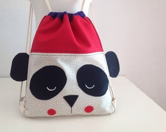 Panda Drawstring Bag, Childrens backpack, preschool backpack, daycare bag, diaper bag, panda preschool bag, mini backpack, Kindergarten bag