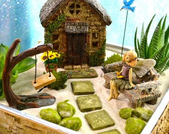 Fairy Garden Kit ~ Birchwood Planter ~ Stone Cottage ~ Includes Fairy Choice ~ Fake Succulent Option at Checkout ~ Sand NOT Included