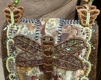 Heavy Beaded Purse *SALE* Hard Case Purse, Clutch Purse, Hand Bag, Beaded Straps, Intricately Detailed, Pattern, Butterflies, Dragonfly