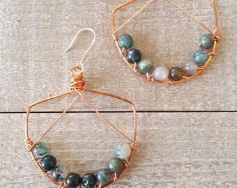 Moss Agate Earrings | Moss Agate | Copper Earrings | Chandelier Earrings | Gemstone Jewelry | Boho Jewelry | Earthy Jewelry