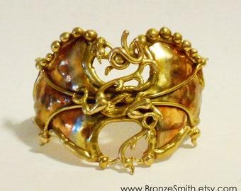 Bronze and Copper Dragon Cuff  Bracelet