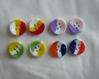 SET of French buttons, 2 of each - nine by 8, 4 holes
