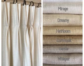 Pembrook Faux Tussah (Raw) Silk Drapery. 38 Beautiful Colors. Shabby Chic Curtains. Custom Pinch Pleat Drapes. Handmade in Canada.