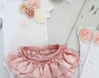 Easter Spring Baby Girl 1st Birthday Outfit Set up to 4 Items, Blush Ruffle Diaper Cover, Rose Leg Warmers, Monogrammed Floral Bodysuit.
