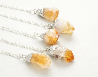 Raw Citrine Silver Necklace Gemstone Crystal Point Necklace Yellow Rough Citrine Pendant Boho Layer Necklace November Birthstone Jewelry