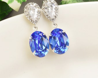 Sapphire Earrings - Swarovski Crystal Earrings Silver - Cobalt Blue Bridesmaid Earrings - Royal Blue Bridesmaid Jewelry - Wedding