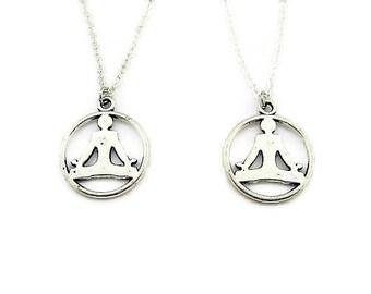 Yoga Necklace Best Friends Set Zen Necklace Set Meditation Necklace Lotus Pose Necklace Zen Jewelry Yoga Jewelry Mother Daughter Necklace