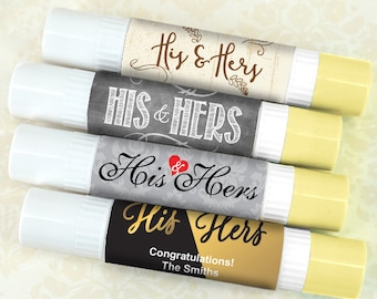 Wedding Favor Lip Balm Double Sided, His & Hers Wedding Lip Balm - Set of 12