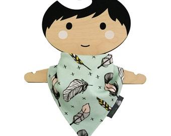 baby bib, bandana dribble bib, organic cotton, mint feathers, baby gift, baby clothing, teething baby, modern babies, dribble