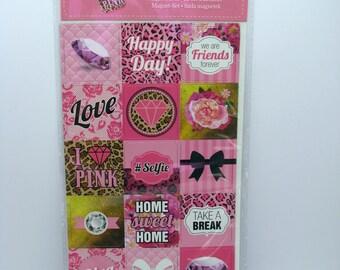 Magnet set - pink - diva - friends - love - 18 magnets