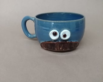 Mans Mustache Mug. Blue Coffee Cup. Stoneware Pottery Face Soup Mug. Bushy Mustaches for Him. Guy Father Husband Gifts. Shaving Bowl.