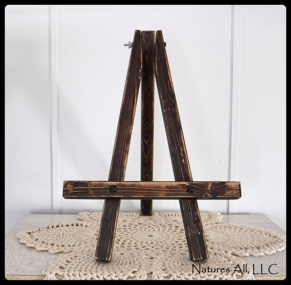 Rustic Table Top Easel/Small Easel/Distressed Walnut/Distressed Wood/Farmhouse Decor/Wedding Sign Easel