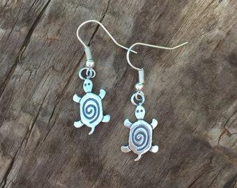 Turtle Charm Earrings, Double-Sided Turtle Earrings, Dangle Turle Earrings, Tribal Turtle Earrings