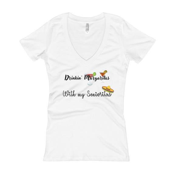Drinkin' Margaritas With my Senioritas FunnyWomen's V-Neck T-shirt