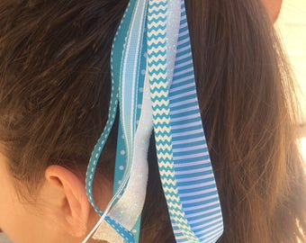 Turquoise Stripes Hair Tie, Ribbon Streamers, Handmade Hair Tie, Ribbon Hair Elastic, Handmade To Order, Girls Accessories, Blue Streamers