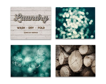 Rustic laundry decor set of 4 prints, laundry room art, laundry room print set, laundry room wall art, set of 4, teal brown laundry decor