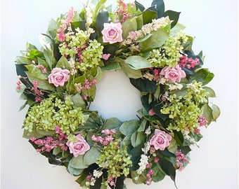 """Mama's Garden Pink Rose and Hydrangea Wreath in 22"""" and 30"""" Lovely gift for Mom!"""