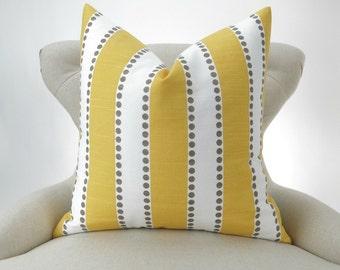 Yellow Stripe Pillow Cover -MANY SIZES- Lulu corn taupe kelp decorative throw euro sham custom cushion modern contemporary premier prints