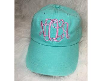 Monogram Baseball Cap with Interlocking Monogram - Monogram Hat - Monogram Cap - Personalized Hat