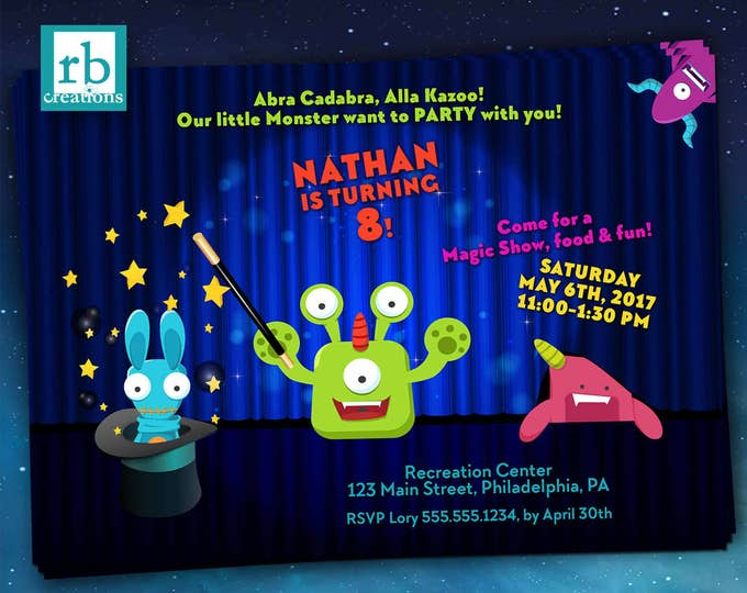 Magic Party Invitation, Magic Invitation, Monster Party, Monster Invitation, Magic Birthday, Monster Birthday - Digital Printable