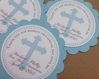 Personalized Blue First COMMUNION CHRISTENING BAPTISM Favor Tags