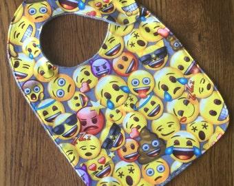 Gray Emoji Minky Baby/Toddler Bib