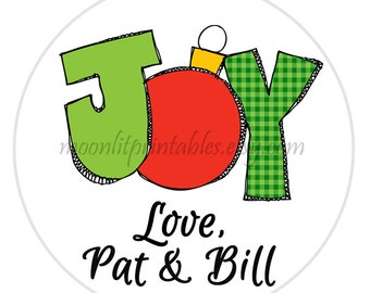 SET OF 24 Christmas Gift Sticker, Joy Christmas Tag, Christmas Gift Label, Teacher Gifts, Personalized Christmas Gift Tags (632)
