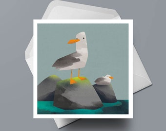 Two Seagulls - Greeting Card