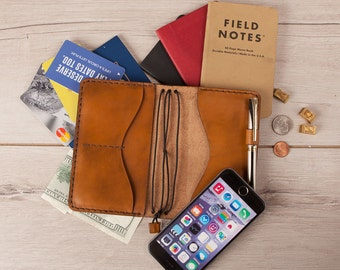 Personalized leather journal, leather notebook cover, A6 size leather moleskine cover, iPhone 6 7, Wallet, Gift for Him, Travelers Wallet