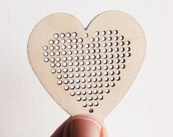 SET OF 5 - Cross stitch pendant blank - heart blanks Wood Needlecraft Pendant, Necklace or Earrings KA-5 - wooden cross stitch blank