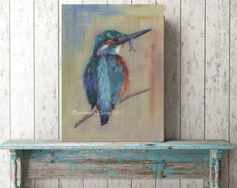 KINGFISHER, Fine Art Giclee Prints from my Acrylic on Linen Painting. Bird Wall Art