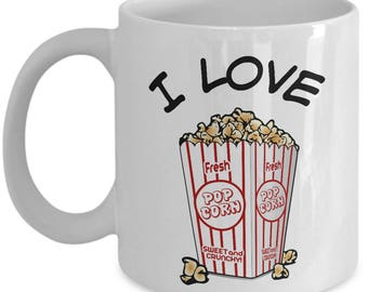 I Love Popcorn mug, coffee cup, with popcorn container image,