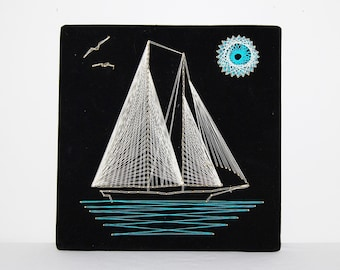 Vintage Sailboat String Art with Aqua