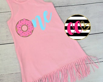 girls donut birthday fringe dress. first birthday fringe dress. donut birthday. donut dress