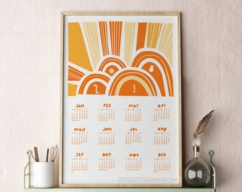 2018 Wall Calendar, Modern Calendar, Poster Calendar 2018, Large Wall Calendar, Abstract Calendar Orange 13x19
