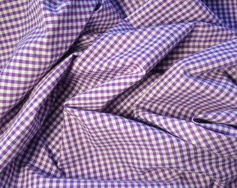 "MINI  CHECKERED GINGHAM 1/4 Inch Poly Cotton Printed Fabric - Purple- 57""/59"" Width Sold By The Yard"
