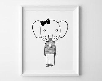 Elephant girl nursery print, mini learners, wall art prints, nursery decor, Scandinavian print, nursery art, elephant print, kids wall decor