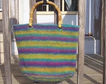 Aquarelles tricoté et feutré sac