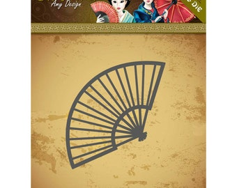 Die cut Amy Design collection ORIENTAL, Chinese fan