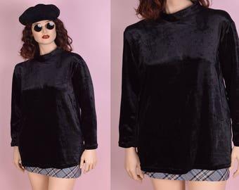 90s Black Crushed Velvet Long Sleeve Top/ Large/ 1990s/ Mock Neck
