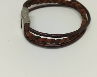 Leather and suede braided bracelet