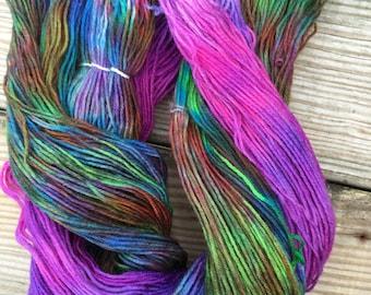 "Handdyed self-striping sock yarn ""northern nights"""