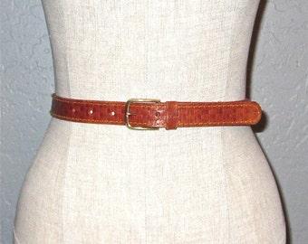 Vintage 70s belt TOOLED LEATHER skinny belt - S/M