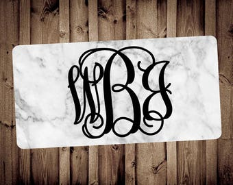 Marble monogram license plate, front license plate, car tags, marble decor, car accessories, monogram car tag, personalized gift