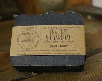 Tea Tree Charcoal Soap | Facial Soap, Activated Charcoal Soap, Tea Tree Face Soap, Detox Soap, Acne Soap, Black Soap, Face Soap, Large 5oz