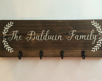 Family Established sign- Wood Signs Last Name- Key Holder For Wall- Last Name Sign- Entryway Decor- Entryway Sign- Family Name Sign