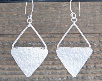 Hammered Diamond Earrings, Sterling Silver Diamond Dangle Earrings, Geometric Dangle Earrings, Double Triangle Hammered Earrings